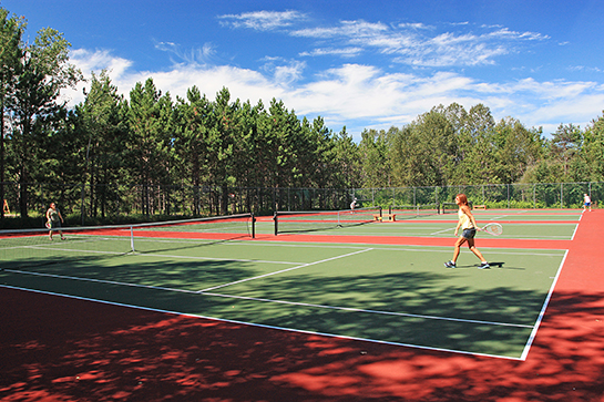 4 tennis courts surrounded by trees