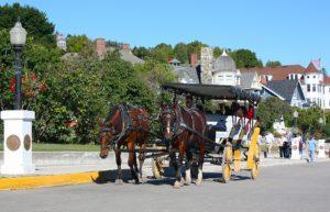 horse and buggy ride on main street on mackinac island