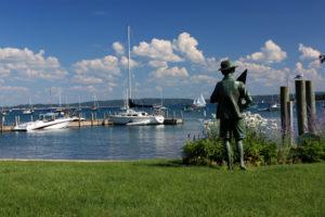lake michigan in harbor springs with sailboats