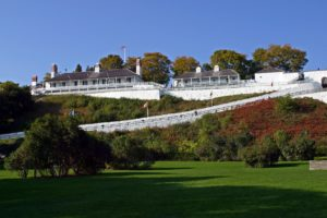 fort mackinac on the island with long staircase