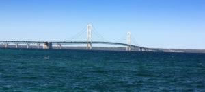 mackinac bridge on sunny day