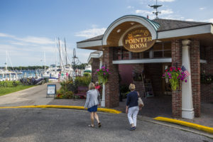 staffords pier restaurant on little traverse bay with boat docks